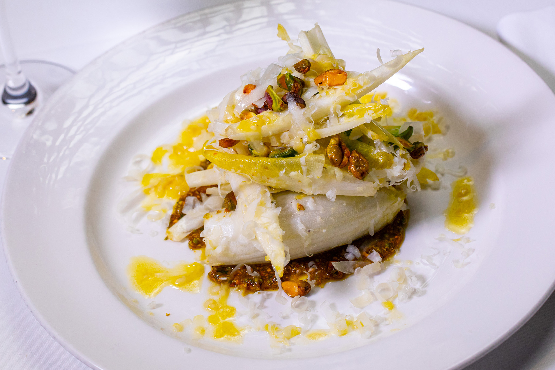 Endive Sala with Avocado Piave and Pistachio Aillade