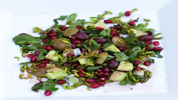 Olive, Pistachio and Pomegranate Salad