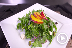 Peach and Arugula Salad with Pistachios