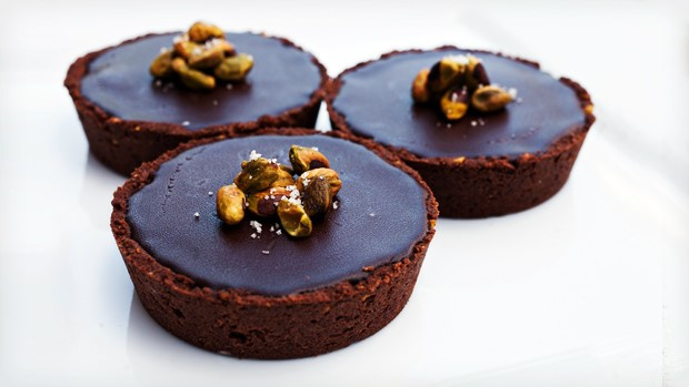 Pistachio Chocolate Tart with Caramel Mascarpone & Ganache By: Chef Lauren Mitterer