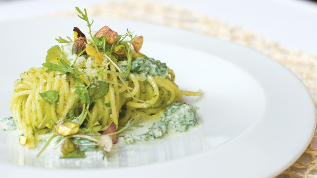 Spaghetti With Pistachio Pesto And Mint Ricotta by Todd English