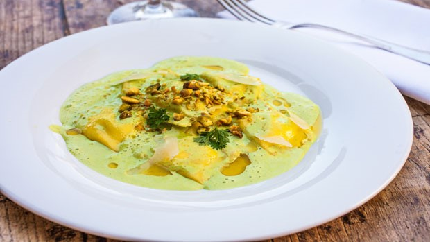 Sweet onion Agnolotti with pistachio sauce