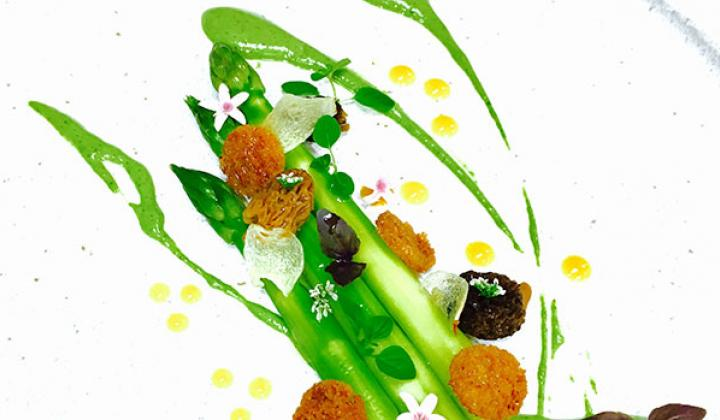 Asparagus Salad with Spinach and Pistachio Puree, Mango Gel, Morel Mushroom and Micro Herbs