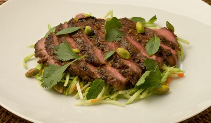 CHINA TOWN CHICAGO PISTACHIO CRUSTED HOISIN FLANK STEAK WITH STIR-FRIED BROCCOLI SLAW