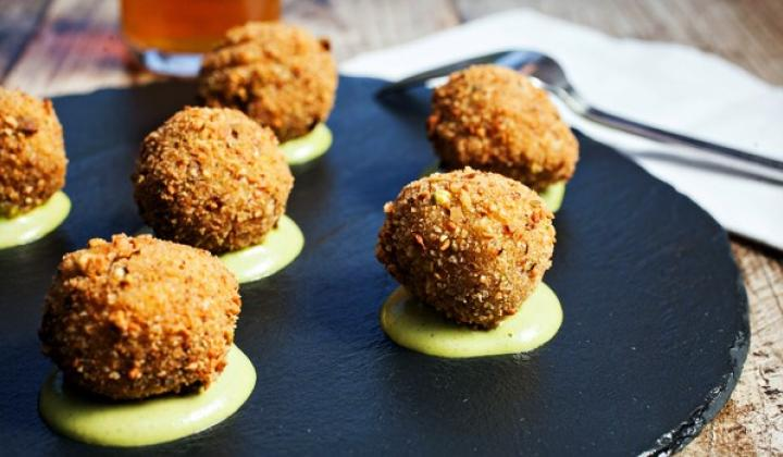 Crispy Pork Fritters with Pistachio Green Goddess