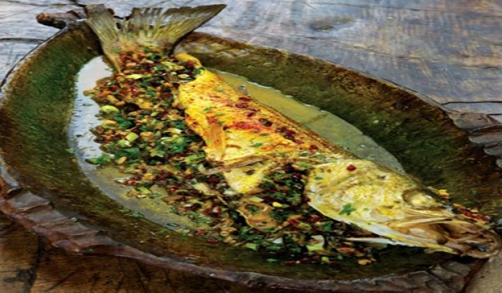 Fish with Pistachio, Fresh Herb and Barberry Stuffing By Najmieh Batmanglij