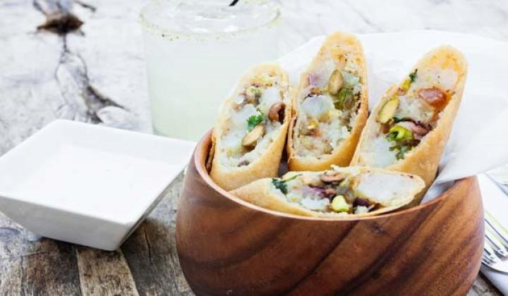 Flautas with Creamy Pistachio Filling, Applewood Bacon and Chipotle Buttermilk