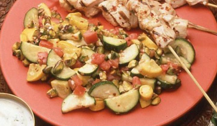 Grilled Chicken Kabob with Spicy Garlic Baste on Pistachio Vegetables