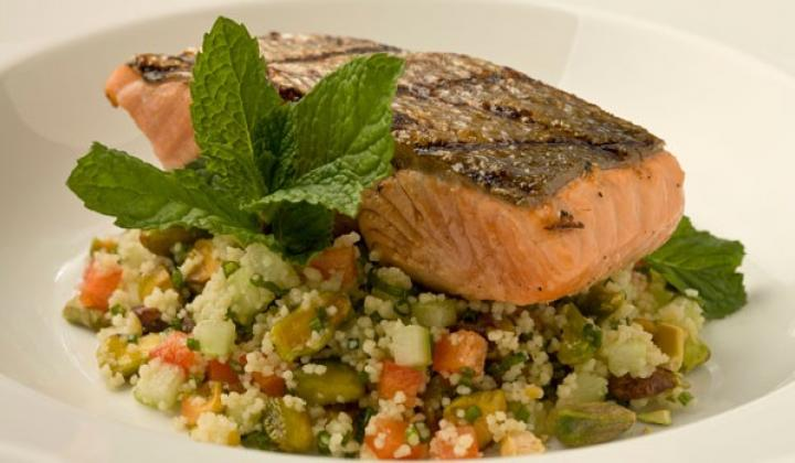 Grilled Salmon & Citrus Pistachio Couscous Salad