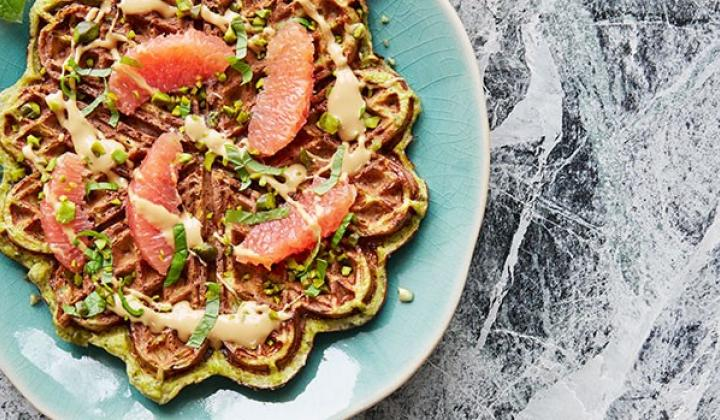 Pistachio Banana Waffles with Grapefruit, Mint, & Dulcey Chocolate
