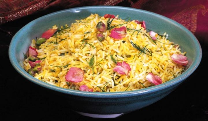 Pistachio Rice with Dill and Rose Petals