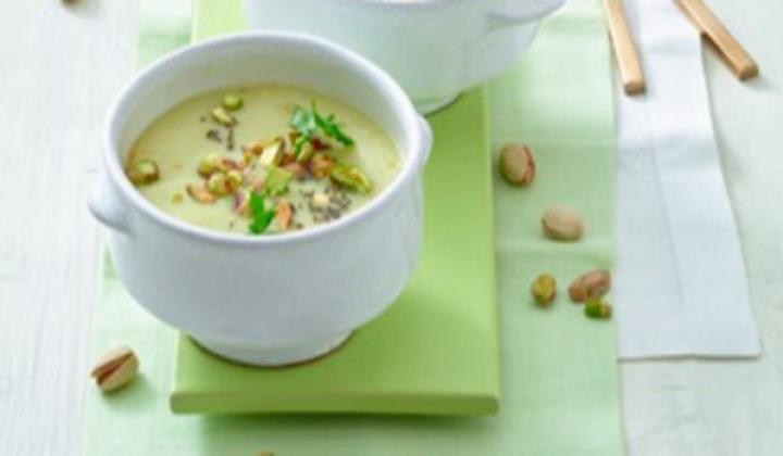 Pistachios Celery Romanesco Soup with Pistachios and Chia Seeds