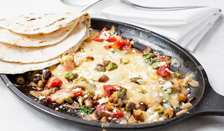 Queso Fundido al Pistachio with Tortillas
