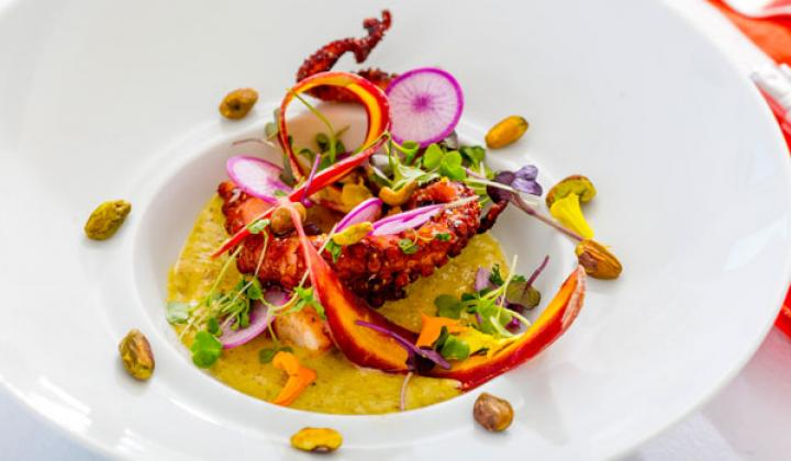 Spanish Octopus with Gazpacho, Pistachio, Chili, Finger Lime and Mixed Herbs