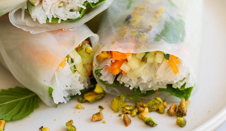 Spring Rolls with Mint and Pistachios