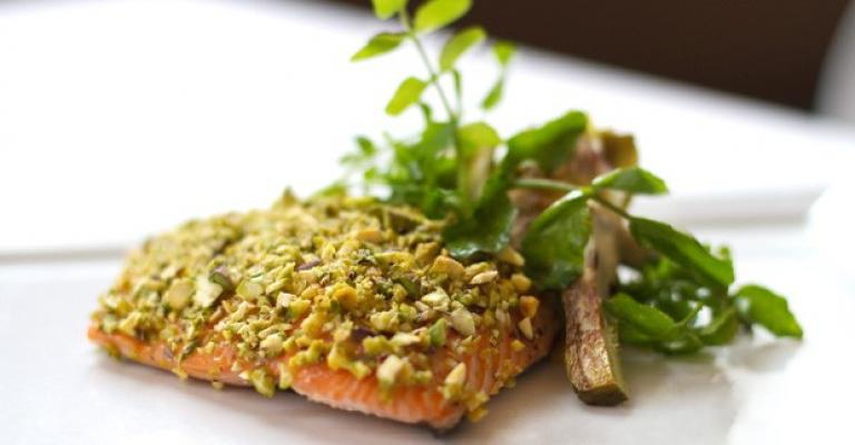 PISTACHIO-DUSTED ROAST SALMON WITH A LIGHT HONEY GLAZE